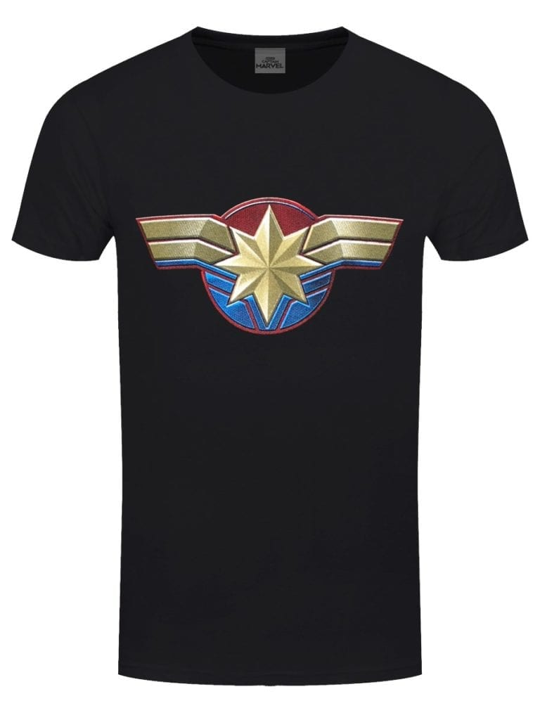 Captain Marvel Logo on a black t-shirt