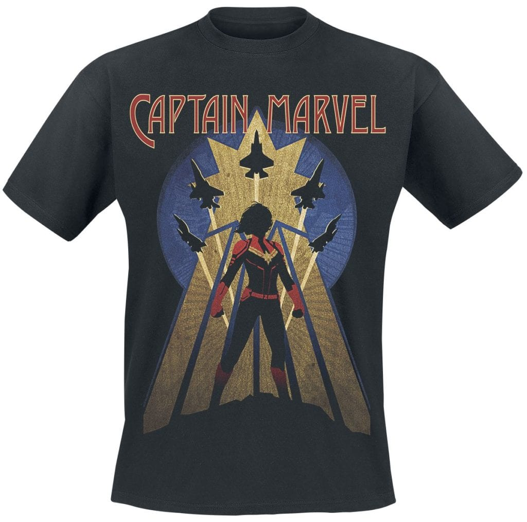 Captain Marvel T-shirt with fighter Jets