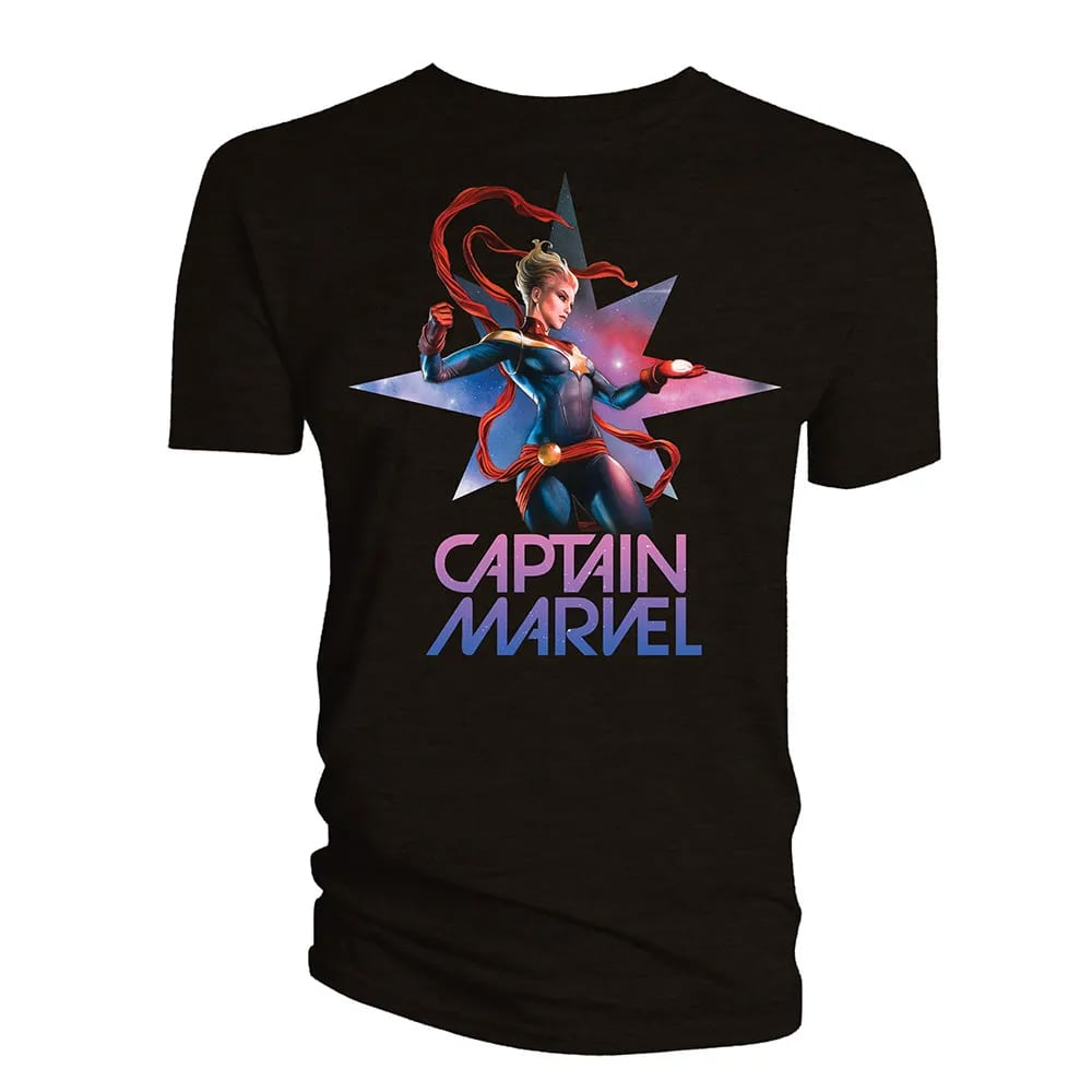 T-shirt with Captain Marvel in a fighting pose.